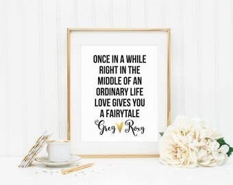 Personalized Wedding Printable-Custom Wedding Printable-Bridal Shower Gift-Ordinary Fairytale-Wedding/Anniversary printable-