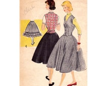 50s Weskit Skirt & Petticoat Pattern McCall's 9863 Teen Vest Gored Skirt Crinoline Vintage Sewing Pattern Size 16 Bust 34 inches