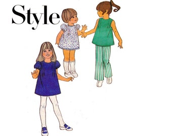 70s Retro Toddler Girls Dress Tunic & Bell Bottom Pants Pattern Style 3702 Vintage Sewing Pattern Size 4 Breast 23 inches