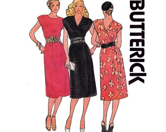 70s Easy Wrap Dress Pattern Butterick 6487 Front or Back Wrap V Neck Dress Vintage Sewing Pattern Size 12 Bust 34 Inches