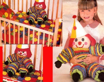 Yo Yo Clown Doll Coverlet & Pillow Cover Pattern Butterick 4143 Vintage Sewing pattern UNCUT Factory Folded
