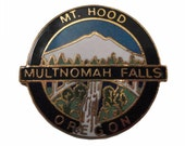 Multnomah Falls MOUNT HOOD OREGON vintage enamel pin badge lapel cloisonne snow ski mountain