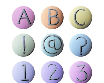 Hand Painted Knob - Children's Custom Hand Painted Letters Words Alphabet Numbers Children's Drawer Knobs Pulls or Nail Covers for Kids