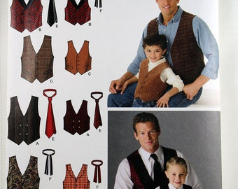 Simplicity 4762, Men's and Boys' Vests and Ties Sewing Pattern, Vest Pattern, Men's Patterns, Men's Size S to XL, Boys' S, M, L, Uncut