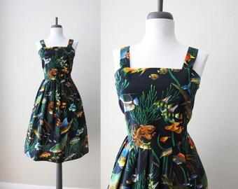 Vintage 1990s Dress / Under the Sea Mermaid Cotton Sun Dress / Size Medium or Large