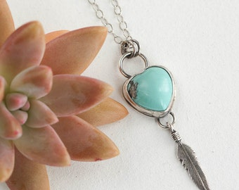 Genuine Turquoise Heart with Feather Necklace, Southwestern Necklace, Turquoise Necklace