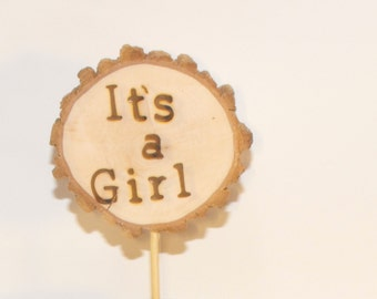 Woodland baby shower decoration ~ It's A Girl Cake topper ~ Gender reveal ~ wood slice Girl Cake topper ~ Rustic girl decorations