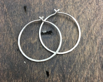 Medium Sterling Silver Hammered Hoop Earrings, Hoop Earrings