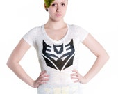 Transformers Decepticon insignia tee by MITMUNK - women's white burnout v-neck t-shirt