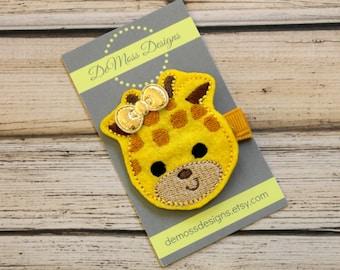 Giraffe Hair Clip, Vinyl Felt Hair Clip, Machine Embroidered, Alligator Clip, Non Slip, Ready to Ship