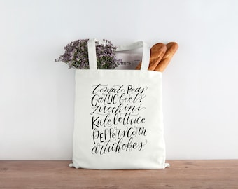 Market Vegetable Produce Screen Printed Canvas Tote Bag - Calligraphy Hand-lettered canvas shopping bag