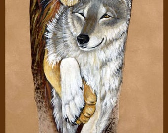 Lion and Wolf Couple Feather Print