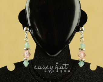 Pacific Green and Vintage Rose Swarovski Crystal Silver Post Earrings