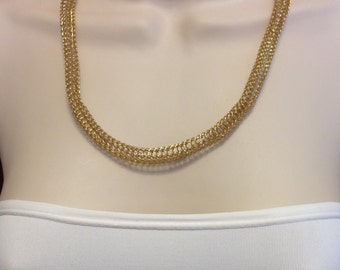 "Gold Viking Knit Chain Necklace Adjustable 18"" to 22.5"" Long with Vintage Gold Bead Caps One of a Kind Previously 35 Dollars ON SALE"