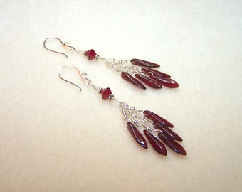 Red Earrings for Women Silver Dangle Earings Dark Red Dagger Bead Wire Wrapped Handmade Jewelry Gift Ideas for Her Cluster Earrings