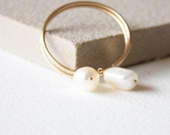 Pearl and gold hoops, minimal dainty earrings, June Birthstone, delicate earrings, gift for her,