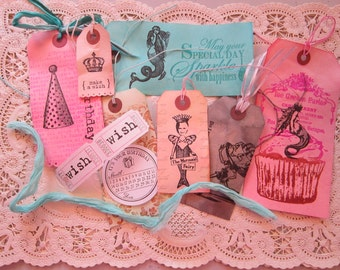 handmade gift tag bundle - BIRTHDAY GIRL MERMAID tags