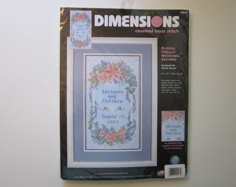 counted cross stitch kit - Floral Trellis WEDDING RECORD - Dimensions, unopened - circa 2001