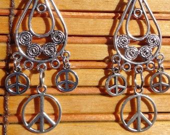 peace sign symbol chandelier earrings