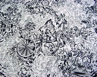 Vintage 30s 40s Black Toile Cotton Fabric -Reclaimed from Antique Dress Skirt -Quilting Sewing Crafts Material -Ancient Horse Chariot Castle