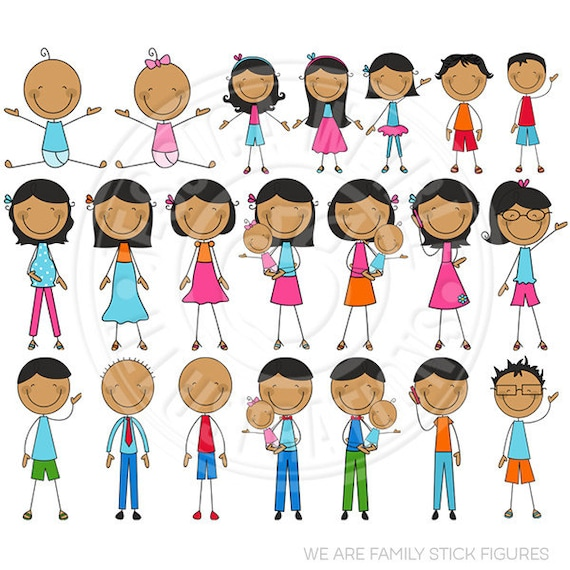 Dark Skin We Are Family Stick Figures Cute Digital Clip Art - Commercial Use OK - Stick Figure Family Graphics