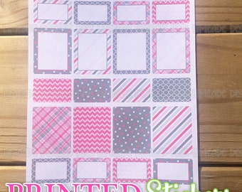 Patterned Full & Half Boxes - Pink and Gray - printed kiss cut stickers for your planner or calendar - full sheet - MATTE - PGCS