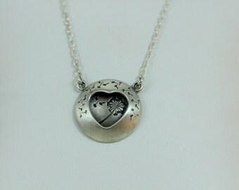 Dandelion pendant, dandelion heart necklace, Dandelion, Dandelion jewelry