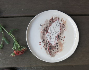 Ceramic Woodland Autumn Leaf Hand Drawn Fine Art Plate One of a Kind Gift Idea Home Decor, Handmade Artisan Pottery by Licia Lucas Pfadt