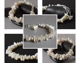Keshi Freshwater Pearl Bracelet Cream White Ivory Bracelet Baroque Pearl Bridal Bracelet Bridesmaid Birthstone Wedding Jewelry Gift Mom Her