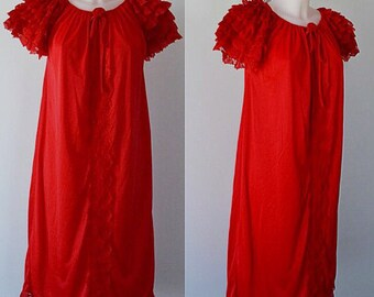 Vintage Red Nightgown, Vintage Nightgown, 1960s Nightgown, 1960s Lingerie, Nightgown