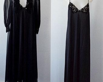 Vintage Olga Peignoir, Black Chiffon Peignoir, Olga Peignoir Set, Peignoir Set, Olga, Vintage Peignoir, Chiffon Peignoir