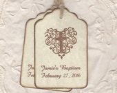Baptism Favor Tags, Custom Boy Girl Communion Favor Tags, Personalized Sepia Brown Christening Tags, Cross Tags - Vintage Style Set Of 20