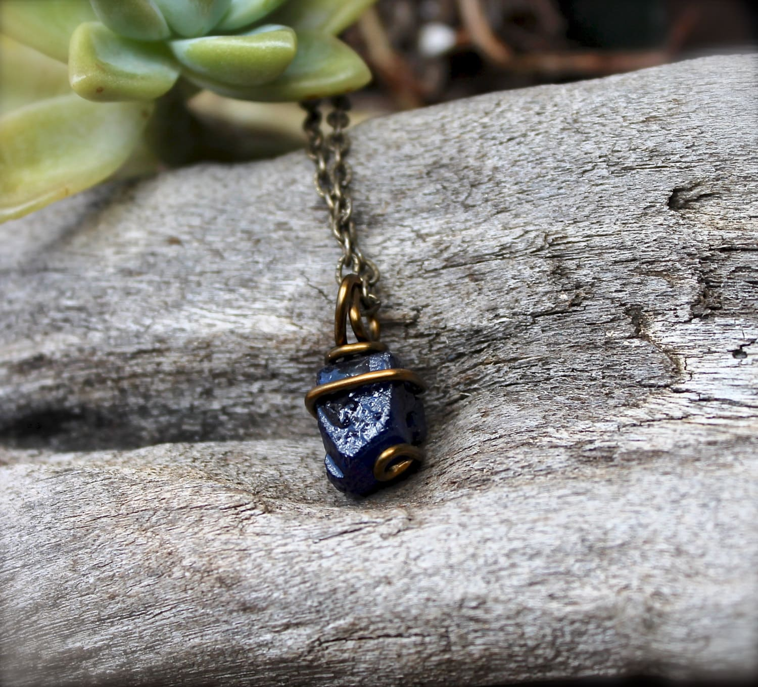 Rough Sapphire Necklace PETITE Stone by MermaidTearsDesignsUnpolished Sapphire Necklace
