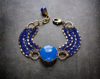 Blue Assemblage Bracelet Multi Strand Chain Vintage Lucite Antique Brass Chains Royal Blue Electroplate Chain Cobalt Blue Crystal Cornflower