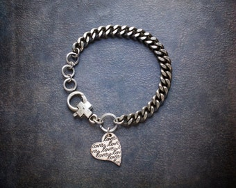 Industrial Silver Curb Chain Bracelet with Vintage Heart Love Charm