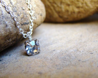 Tiny Rhinestone Diamond Sparkle Silver Necklace