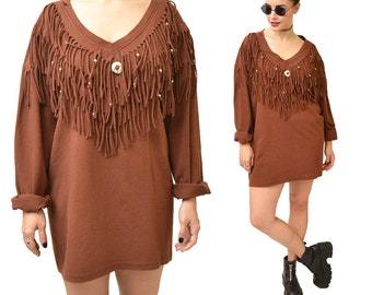 Out on the Fringe Oversized Concho T-shirt Dress// L XL