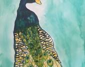 Pretty Peacock | Original Watercolor Painting 11x15 in.