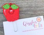 Apple Bookmark, Felt Bookmark, Planner Paper Clip, Apple Planner Clip, Organizer Planner Clip, Journal Paper Clip, Fall Planner Clips