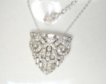ORIGINAL Art Deco Dress Clip Pendant Necklace, Paste Rhinestone 1930 Vintage Flapper Bridal Necklace Antique Gatsby Jewelry CORO Duette