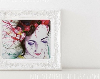 Easter Gift for her Spiritual Gifts Watercolor Print Portrait of Lady Colorful Gifts for Her Unique Boho Decor Dorm Decor
