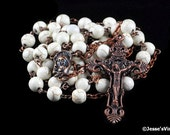 Catholic Rosary Beads Rustic White Magnesite Copper Natural Stone Traditional Five Decade
