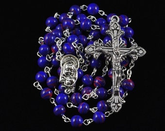 Catholic Rosary Purple Red Swirl Glass Beads Silver Traditional Rosary Beads