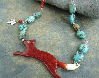 Hand Cast Resin Fox & Semi-Precious Bead Statement Necklace