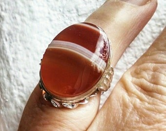 Banded Agate Sterling Silver Ring Art Deco Statement Clark and Coombs Size 7