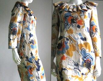 60s 70s vintage handmade dress painterly