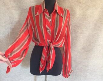 CHIC And FUN...Vintage 70's Shirt, Orange Stripe Sheer Long Sleeve, Medium to Large, Bust 44
