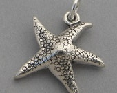 Sterling Silver Charm Pendant STAR FISH Starfish Nautical Ocean Beach 4688