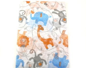 24 sheets of Tissue Paper- Zoo or Circus Animals - elephant, lion, giraffe, monkey- 15 x 20 inch 100% recycled tissue paper