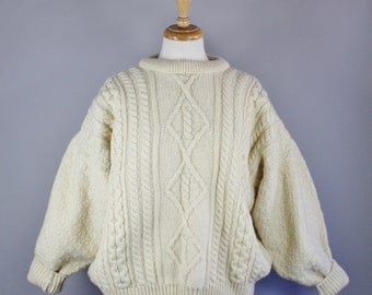 Vintage 80s Women's Cream Fisherman's Style Aran Knit Irish Wool Fall Winter Warm Pullover Sweater